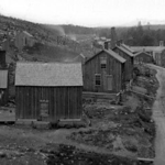 An old photo of the Borough of Fall Brook shows the company store, A.B. Stebbins. Photo courtesy of blossburg.org.