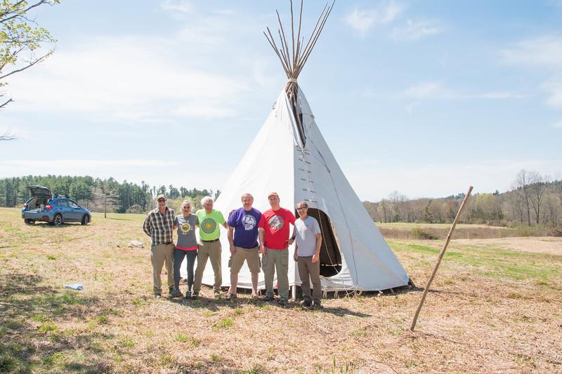 Meadow Teepee set up for the 2019 Leatherman's Loop. Pictured: Jeff Main, Judy Godino, Tony Godino, Mike Surdej, Rob Cummings, Bill Bradsell.