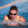 Fallbrook High School Warrior Doug Pearce swims the breaststroke during the 200-meter individual medley against Escondido Charter High School.