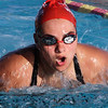 Fallbrook High School Lady Warrior Kassidy Ewig swims in the 200-meter individual medley race against Escondido Charter High School.