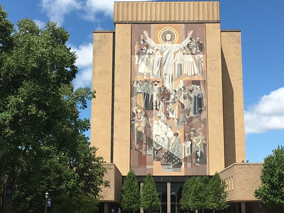 Touchdown Jesus - on the side of the Library, facing the Stadium.