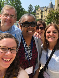 Deacon Phil, Deb, Dawn and Cheryl in front of the Basillica with Andrea!
