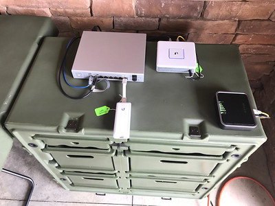 A military field desk provided a nice platform for our portable wi-fi / Internet system.