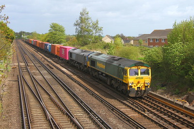 66545 Worting Junction 28/04/19 4O29 Crewe to Southampton with 66415 takes the Andover line due to engineerig work
