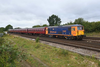 """17 August 2019 :: 73107 at Worting on the rear of 1Z82, """"The Lost Village of Imber"""" from Waterloo to Warminster"""
