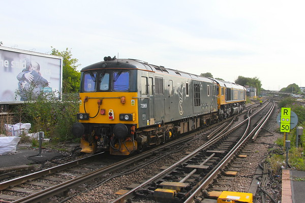73969 Basingstoke 21/08/19 on the rear of  0E33 Eastleigh to Doncaster Down Decoy led by 66722