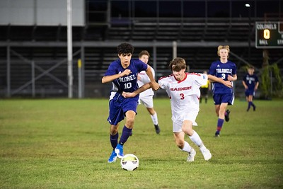 KELLY FLETCHER, REFORMER CORRESPONDENT -- Ayoub Lajhar (#10) tries to maneuver the ball away from Rutland captain, Tanner Merrill, during Tuesday's game at Tenney Field