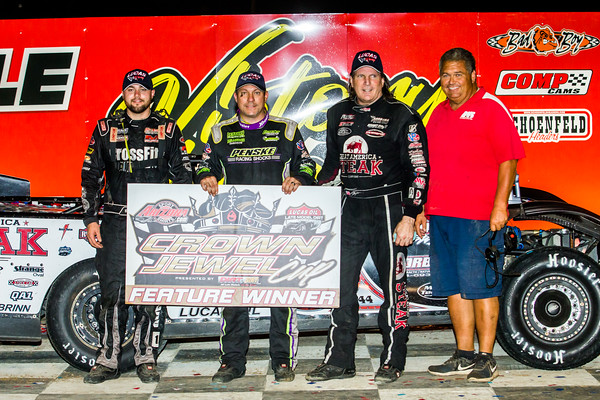 Brandon Overton (L), Chris Madden (C), Scott Bloomquist (C) and Mooney Starr (R)
