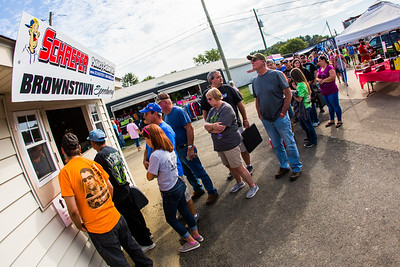 Fans in line to purchase tickets at Brownstown Speedway