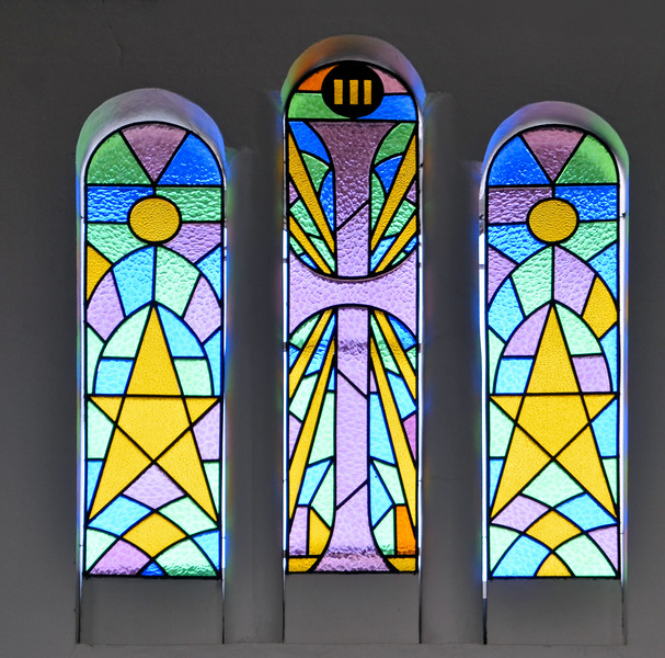 Stained glass in Our Lady of Carmen Catholic Church, Solento