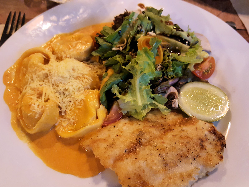 Tortellini and fish lunch at Mocawa Plaza Hotel