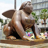 Winged woman Botero sculpture in Botero Plaza