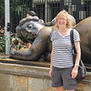 Anne with Botero sculpture in Botero Plaza