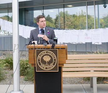 New York State Senator James Skoufis offers remarks as Safe Homes of Orange County kicked off Domestic Violence Awareness Month on Tuesday, October 1, 2019 at the Orange County Government buidling in Goshen, NY. Hudson Valley Press/CHUCK STEWART, JR.