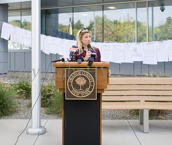Safe Homes of Orange County Executive Director Kellyann Kostyal-Larrier offers remarks as Safe Homes of Orange County kicked off Domestic Violence Awareness Month on Tuesday, October 1, 2019 at the Orange County Government buidling in Goshen, NY. Hudson Valley Press/CHUCK STEWART, JR.