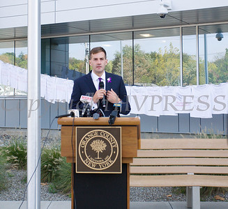 NYS Assemblyman Collin Schmitt offers remarks as Safe Homes of Orange County kicked off Domestic Violence Awareness Month on Tuesday, October 1, 2019 at the Orange County Government buidling in Goshen, NY. Hudson Valley Press/CHUCK STEWART, JR.