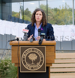 New York State Senator Jen Metzger offers remarks as Safe Homes of Orange County kicked off Domestic Violence Awareness Month on Tuesday, October 1, 2019 at the Orange County Government buidling in Goshen, NY. Hudson Valley Press/CHUCK STEWART, JR.