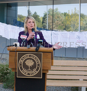 Orange County Commissioner for the Department of Social Services Darcie Miller offers remarks as Safe Homes of Orange County kicked off Domestic Violence Awareness Month on Tuesday, October 1, 2019 at the Orange County Government buidling in Goshen, NY. Hudson Valley Press/CHUCK STEWART, JR.