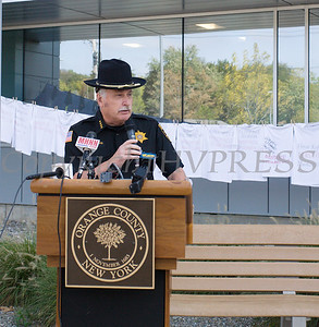 Orange County Sherriff Carl DuBois offers remarks as Safe Homes of Orange County kicked off Domestic Violence Awareness Month on Tuesday, October 1, 2019 at the Orange County Government buidling in Goshen, NY. Hudson Valley Press/CHUCK STEWART, JR.