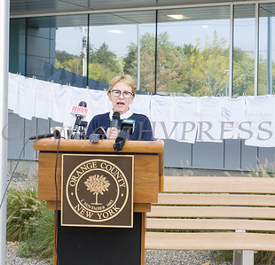 New York State Senator Aileen Gunther offers remarks as Safe Homes of Orange County kicked off Domestic Violence Awareness Month on Tuesday, October 1, 2019 at the Orange County Government buidling in Goshen, NY. Hudson Valley Press/CHUCK STEWART, JR.