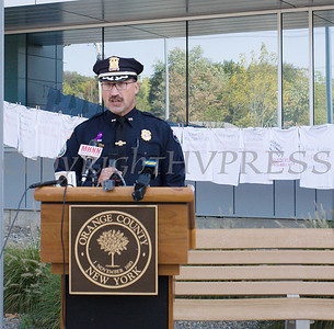 Chief Dominick Blasko, Town of Crawford Police Department, representing the Police Chiefs' Association of Orange County, offers remarks as Safe Homes of Orange County kicked off Domestic Violence Awareness Month on Tuesday, October 1, 2019 at the Orange County Government buidling in Goshen, NY. Hudson Valley Press/CHUCK STEWART, JR.