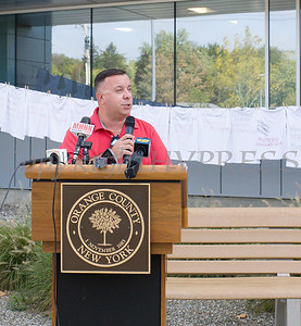 NYS Assemblyman Karl Brabenec offers remarks as Safe Homes of Orange County kicked off Domestic Violence Awareness Month on Tuesday, October 1, 2019 at the Orange County Government buidling in Goshen, NY. Hudson Valley Press/CHUCK STEWART, JR.