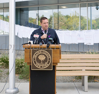 Orange County Executive Steve Neuhaus offers remarks as Safe Homes of Orange County kicked off Domestic Violence Awareness Month on Tuesday, October 1, 2019 at the Orange County Government buidling in Goshen, NY. Hudson Valley Press/CHUCK STEWART, JR.