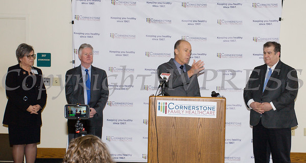 Rich Rawley explains the Rowley Family Foundation contribution as Cornerstone unveils major healthcare facility upgrade on Thursday, March 21, 2019. Hudson Valley Press/CHUCK STEWART, JR.