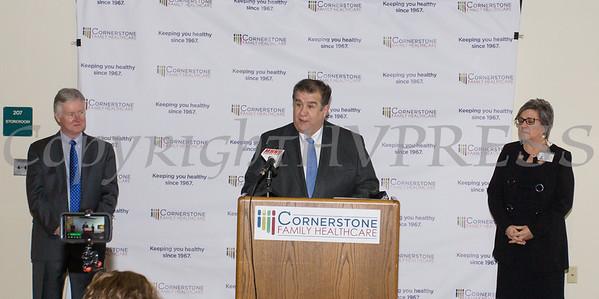 Middletown Mayor Joseph DeStafano offers remarks as Cornerstone unveils major healthcare facility upgrade on Thursday, March 21, 2019. Hudson Valley Press/CHUCK STEWART, JR.