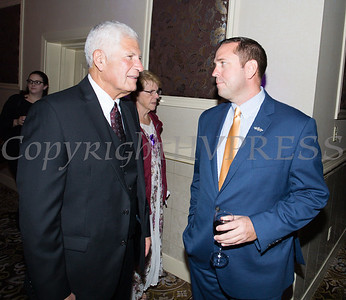 Judge Onofry speaks with Orange County Executive Steven Neuhaus as Safe Homes of Orange County celebrated its 33rd Anniversary with a Celebration of Hope Gala on Friday, October 25, 2019. Hudson Valley Press/CHUCK STEWART, JR.