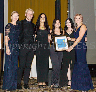 Kellyann Kostyal-Larrier, right, presents Indigo Salon, with an award during the Fearless! (Safe Homes of Orange County) 33rd Anniversary and Celebration of Hope Gala on Friday, October 25, 2019. Hudson Valley Press/CHUCK STEWART, JR.