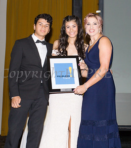 Kellyann Kostyal-Larrier, right, presents Ada Lara and her brother, with an award during the Fearless! (Safe Homes of Orange County) 33rd Anniversary and Celebration of Hope Gala on Friday, October 25, 2019. Hudson Valley Press/CHUCK STEWART, JR.