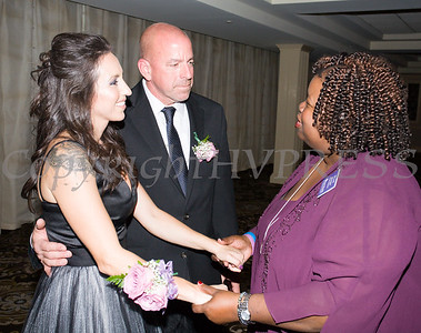 Board member Melanie Richard speaks with Fearless! (Safe Homes of Orange County) honoree Blaise Gomez at the 33rd Anniversary and Celebration of Hope Gala on Friday, October 25, 2019. Hudson Valley Press/CHUCK STEWART, JR.