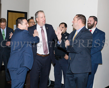 Orange County Legislator Kevindaryan Lujan, Orange County District Attorney David Hoovler and County Executive Steven Neuhaus present the City of Newburgh Police Department with a $5,000 check on Thursday, January 3, 2019 to support its Junior Police Cadet Academy program. Hudson Valley Press/CHUCK STEWART, JR.