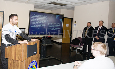 Cadet Sgt. Singh presents a slide show illustrating what the City of Newburgh Junior Police Cadet Academy program has achieved during a check presentation on Thursday, January 3, 2019 from Orange County Executive Steven Neuhaus. Hudson Valley Press/CHUCK STEWART, JR.