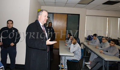 Orange County District Attorney David Hoovler offers remarks as the City of Newburgh Police Department received a $5,000 check on Thursday, January 3, 2019 from Orange County Executive Steven Neuhaus to support its Junior Police Cadet Academy program. Hudson Valley Press/CHUCK STEWART, JR.