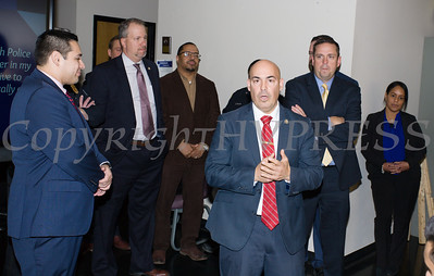 Lt. Cortez of the City of Newburgh Police Department offers remarks as the deparment received a $5,000 check on Thursday, January 3, 2019 from Orange County Executive Steven Neuhaus to support its Junior Police Cadet Academy program. Hudson Valley Press/CHUCK STEWART, JR.