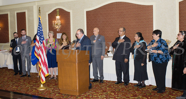 The Pledge of Allegiance is said as Latinos Unidos of the Hudson Valley celebrated its 18th Anniversary and its 14th Annual Hispanic Heritage Cultural Celebration at Anthony's Pier 9 in New Windsor, NY on Friday, November 1, 2019. Hudson Valley Press/CHUCK STEWART, JR.
