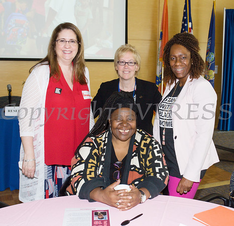 Planned Parenthood Mid Hudson Valley Director of Community Outreach Projects Annette Marzan, Vice President of Education & Public Affairs Frances Fox-Pizzonia and Director of Diversity, Inclusion & Community Engagement Lana Williams-Scott with Human Rights advocate Loretta Ross (seated), before Ross spoke at SUNY Orange with PPMHV's Healthy Black and Latinx Coalitions about a variety of subjects including white supremacy and the intersectionality of social justice issues on Saturday, May 4, 2019. Hudson Valley Press/CHUCK STEWART, JR.