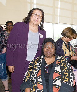Diane Ruffin with Human Rights advocate Loretta Ross, who spoke at SUNY Orange with PPMHV's Healthy Black and Latinx Coalitions about a variety of subjects including white supremacy and the intersectionality of social justice issues on Saturday, May 4, 2019. Hudson Valley Press/CHUCK STEWART, JR.