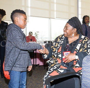 Christian Scott meets Human Rights advocate Loretta Ross who spoke at SUNY Orange with PPMHV's Healthy Black and Latinx Coalitions about a variety of subjects including white supremacy and the intersectionality of social justice issues on Saturday, May 4, 2019. Hudson Valley Press/CHUCK STEWART, JR.