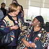 Lillie Howard talks with Human Rights advocate Loretta Ross (seated) who spoke at SUNY Orange with PPMHV's Healthy Black and Latinx Coalitions about a variety of subjects including white supremacy and the intersectionality of social justice issues on Saturday, May 4, 2019. Hudson Valley Press/CHUCK STEWART, JR.