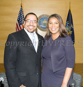 City of Newburgh Torrence Harvey with New York State Attorney General Letitia James who hosted a forum in Newburgh on solutions to combat the opioid epidemic in NY State on Saturday, April 6, 2019. Hudson Valley Press/CHUCK STEWART, JR.