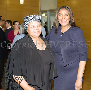 City of Newburgh Councilwoman Hillary Rayfor with New York State Attorney General Letitia James who hosted a forum in Newburgh on solutions to combat the opioid epidemic in NY State on Saturday, April 6, 2019. Hudson Valley Press/CHUCK STEWART, JR.
