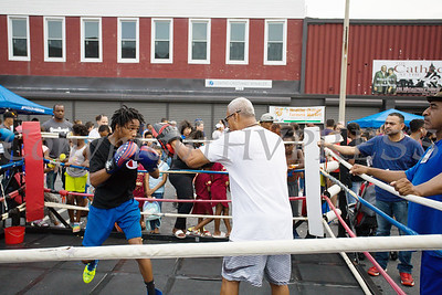 Boxing demonstrations were held during the all-free National Night Out event that took place in the City of Newburgh on Tuesday, August 6, 2019. Hudson Valley Press/CHUCK STEWART, JR.