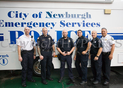 Members of the City of Newburgh Police Department participated in the all-free National Night Out event that took place in the City of Newburgh on Tuesday, August 6, 2019. Hudson Valley Press/CHUCK STEWART, JR.