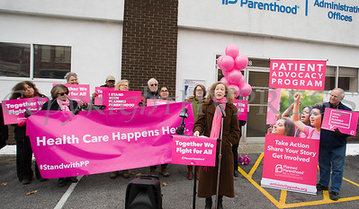 Senator Jen Metzger's Chief of Staff Leslie Beriliant offers remarks on recently passed legislation during a Planned Parenthood Mid-Hudson Valley press conference on Sunday, January 27, 2019. Hudson Valley Press/CHUCK STEWART, JR.