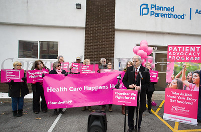 Assemblyman Jonathan Jacobson (D-104) discusses enacted legislation at a Planned Parenthood Mid-Hudson Valley press conference on Sunday, January 27, 2019. Hudson Valley Press/CHUCK STEWART, JR.