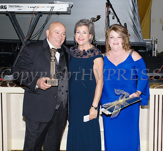 Joseph (left) and Mary Ellen Sayegh (right) received the Lifetime Achievement Award from Linda S. Muller, President & CEO Cornerstone Family Healthcare during the 20th Annual Pillars of the Community Gala held at Anthony's Pier 9 on Saturday, November 2, 2019. Hudson Valley Press/CHUCK STEWART, JR.