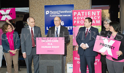 Rabbi Dennis Ross of Concerned Clergy for Choice offers remarks as Planned Parenthood Mid-Hudson Valley hosted an event with elected officials and local partners on Tuesday, April 16, to draw attention to what's at stake in New York State regarding the gag rule. Hudson Valley Press/CHUCK STEWART, JR.